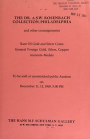 The Dr. A.S.W. Rosenbach collection ... : and other consignments ... [12/11-12/1969]
