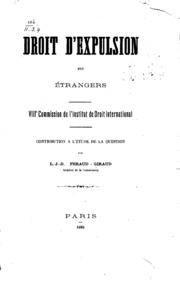 Droit d-expulsion des étrangers: VIIIe Commission de l-Institut de droit ...