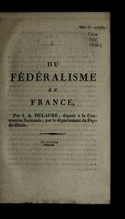 Du fédéralisme en France