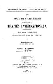Du rôle des chambres en matière de traités internationaux ..