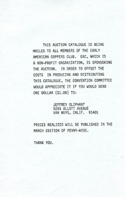 Early American Copper Club, 1978 annual convention, auction catalogue, February 10& 11, 1978