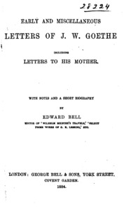 Early And Miscellaneous Letters Of J W Goethe