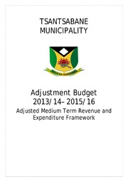 NC085 Tsantsabane Adjustment Budget 2013-14