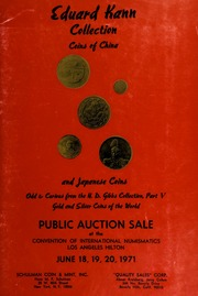 Eduard Kann collection : coins of China and Japanese coins ... [06/18-20/1971]