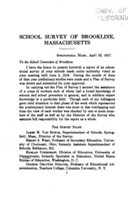 Educational Survey of the Public Schools of Brookline, Mass