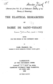 The Elastical Researches of Barré de Saint-Venant