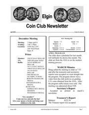 Elgin Coin Club Newsletter