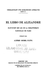 El libro de Alixandre: manuscrit esp. 488 de la Bibliothèque nationale de Paris
