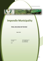 KZN224 Impendle Draft IDP 2015 16