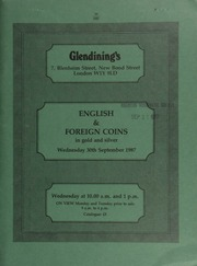 English and foreign coins, in gold and silver, [including] specimen and proof sets; a group of silver pennies of the Wareham Mint, [and] other English hammered silver coins; a collection of halfcrowns from Edward VI to George V;  ... [09/30/1987]