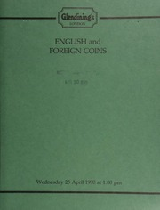 English and foreign coins, [including] a collection of 1,165 florins; Siam, tiger tongue, \Bullet\ money; enamelled coins, Turkish Crimea medals; Food and Agricultural Organization of the United Nations coins of various states; [as well as] numismatic books and auction catalogs, [etc.] ... [04/25/1990]