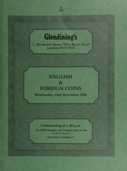 English and foreign coins, [including] an Elizabeth II proof set, 1980; a Scotland, James VI, rider, 1594, equestrian portrait, rev. crowned shield; [and] an Ireland, James I, gunmoney proof shilling, 1690; [and] 45 lots of Mexican coins, part of a hoard discovered in the Far East; [etc.] ... [11/23/1988]