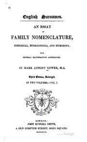 an etymological dictionary of family and christian s an  an essay on family nomenclature historical etymological and humorous several illustrative appendices