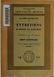 Entretiens d-Ariste et d-Eugène, par le père Bouhours;
