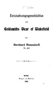 Entstehungsgeschichte von Goldsmiths Vicar of Wakefield...