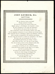 Epitaph for] John Kenrick, Esq. [manuscript