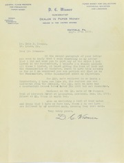 Eric P. Newman Correspondence with D.C. Wismer, 1936-1939