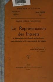 Essai de synthèse professionnelle: la représentation des intérêts et l ...