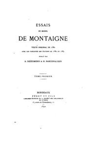 Essais de Michel de Montaigne: précédés d-une lettre à M. Villemain sur l-éloge de Montaigne