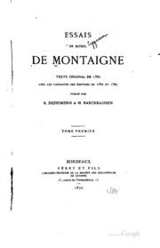 Essais de Michel de Montaigne: Texte original de 1580 avec les variantes des ...