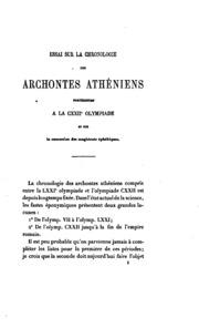 Essai sur la chronolologie des archontes athéniens: postériors à la CXXIIe Olympiade et sur la ...