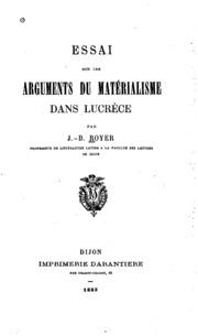Essai sur les arguments du matérialisme dans Lucrèce