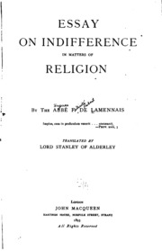 essay on indifference in matters of religion lamennais  essay on indifference in matters of religion lamennais felicite robert de 1782 1854 streaming internet archive