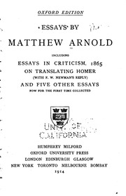 essays by matthew arnold including essays in criticism on  essays by matthew arnold including essays in criticism 1865 on matthew arnold streaming internet archive