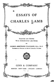 essays of elia by charles lamb lamb charles  essays of charles lamb