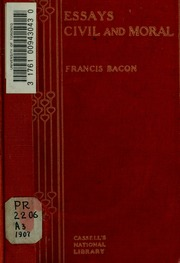 "the essays or counsels civil and moral Works moral: colours of good and evil essays of counsels civil and moral  theological works"", p253  'essays' (1625) 'of revenge' report there is no."