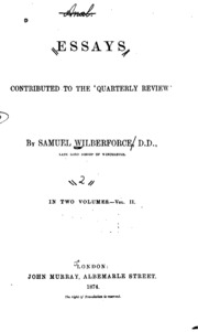 essays contributed to the quarterly review Download essays contributed to the quarterly review written by samuel wilberforce and has been published by this book supported file pdf, txt, epub.