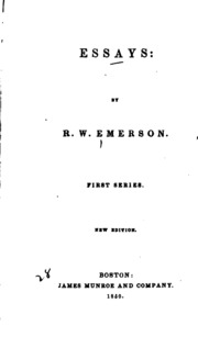emersons essays first series Essays: first series by ralph waldo emerson searchable etext discuss with other readers.