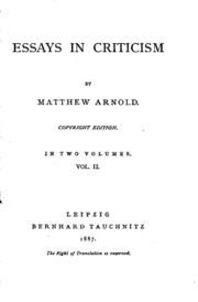 essays by matthew arnold including essays in criticism on  essays in criticism