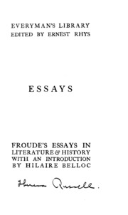 essays in literature history froude james anthony  essays in literature history