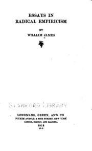 empiricism essay in radical Essays in radical empiricism (1912) william james's radical reconstruction of philosophy, albany: state university of new york press skillen, anthony.