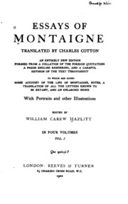 essays by montaigne full text Online library of liberty essays of montaigne this text-based pdf or ebook was created from the html version of this book and is part of the portable.