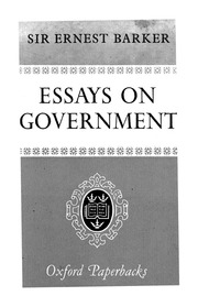 essays on government  ernest barker  free download borrow and  essays on government  ernest barker  free download borrow and streaming   internet archive