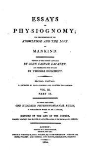 essays on physiognomy lavater Lavater, johann kaspar (1741-1801) essays on physiognomy, designed to promote the knowledge and the love of mankind translated by henry hunter london: john murray et al, 1789-1798 3 vols in 5, 4° (330 x 273mm) with the half titles click to see larger size click to see lot detail 2 bücher: a) johann.