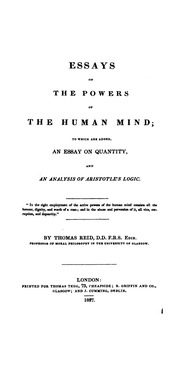 essays on the intellectual powers of man 1786