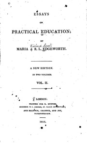 essays on practical education maria edgeworth richard lovell  essays on practical education