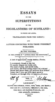 essays on the superstitions of the highlanders of scotland to  essays on the superstitions of the highlanders of scotland to which are added translations mrs anne macvicar grant streaming