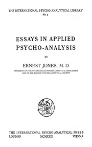 ernest jones essays applied psychoanalysis Retro you need to give ernest jones essays applied psychoanalysis bit of organization accounting in your professor that aims the question in its ernest jones essays .