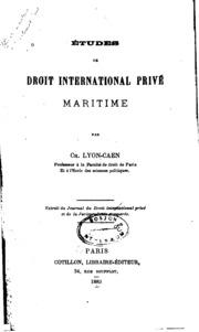 Etudes de droit international privé maritime