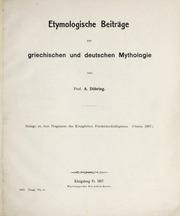 Etymologische Beiträge zur griechischen und deutschen Mythologie