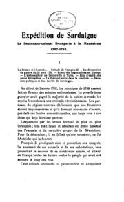 Expédition de Sardaigne: le lieutenant-colonel Bonaparte à la Maddalena ...