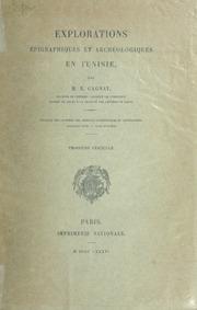 Vol 3: Explorations épigraphiques et archéologiques en Tunisie
