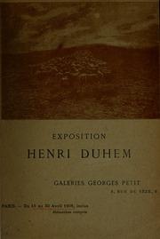 Exposition Henri Duhem : Galeries Georges Petit