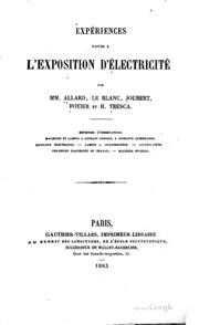 Expériences faites a l-Exposition d-électricité