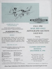 Fall 1994 Mail Bid Only Autograph Auction Sale #133