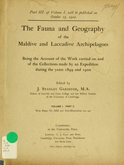 The fauna and geography of the Maldive and Laccadive archipelagoes : being the account of the work carried on and of the collections made by an expedition during the years 1899 and 1900, v.1, pt.2